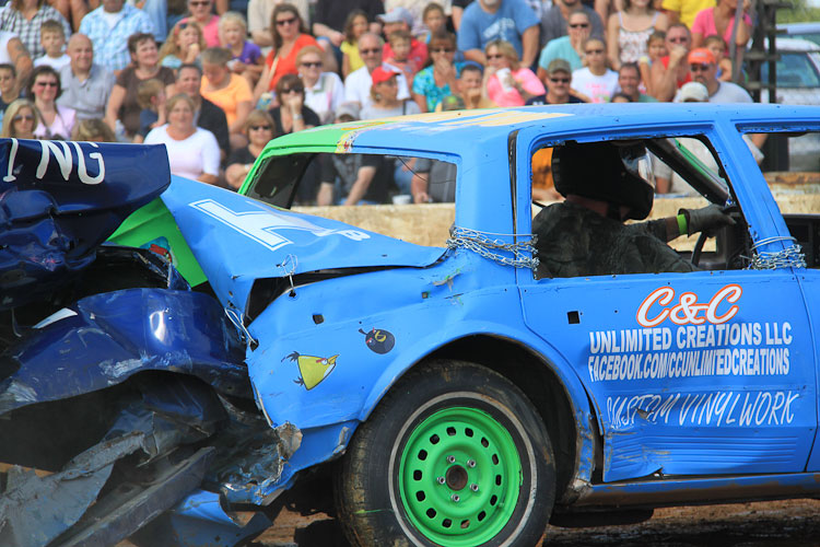 Color photograph of a crash-up derby